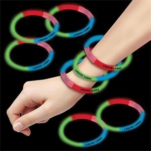 "Red Green & Blue 8"" Triple Color Superior Glow Bracelet"