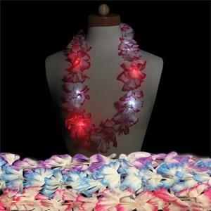 "33\"" LED Light Up Glow Silk Flower Leis"