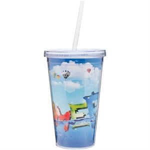 Spirit - 16 Oz Double Wall Acrylic Tumbler With Straw And 4 Color Process Paper Inserts