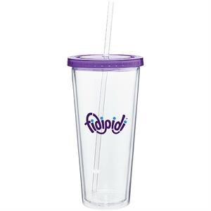 Spirit - Purple - 20 Oz Acrylic Double Wall Tumbler With Colored Threaded Lid And Clear Straw