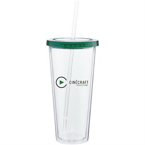 Spirit - Green - 20 Oz Acrylic Double Wall Tumbler With Colored Threaded Lid And Clear Straw