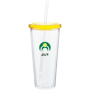 Spirit - Pineapple - 20 Oz Acrylic Double Wall Tumbler With Colored Threaded Lid And Clear Straw