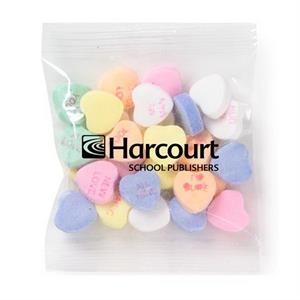 Promo Snax - 1 Oz - Conversation Heart Shape Candy In Cello Bag