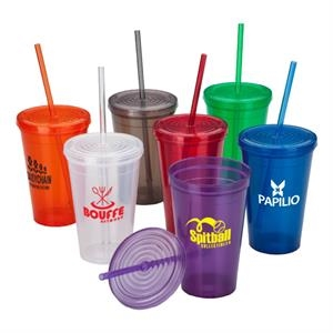 16 Oz Tumbler With Matching Lid And Straw
