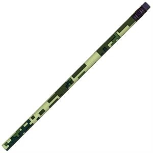 Digital Camouflage(tm) Transfer Wraps (tm) - Digital Forest Camouflage - Round Barrel #2 Core Pencil With Black Ferrule And Eraser
