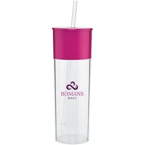 Edge (tm) - Fuchsia - 22 Oz Acrylic Single Wall Tumbler With Color Accent Top And Push On Lid With Straw