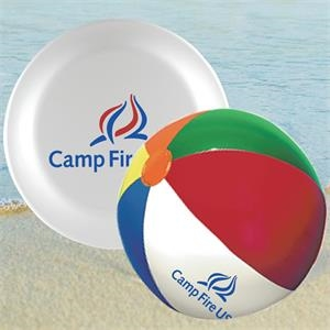 "9"" Beach Ball, 9"" Flying Disc In Mesh Bag"