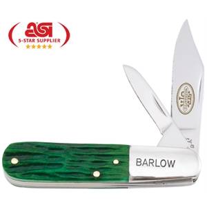 "Big Pine Barlow - 3 1/4"" Lockback With Lavish Deep Green Jigged Bone Handle. Made In Usa. Union Made"