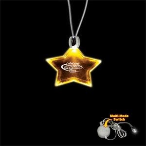 "High Quality, Star Shape Amber Light-up Acrylic Pendant On A 24"" Necklace"