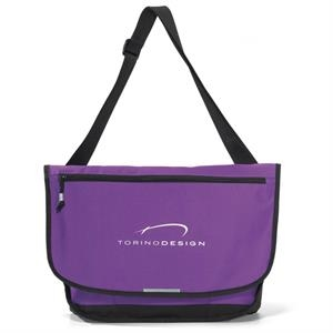 Blaze - Purple - Computer Messenger Bag With Front Zippered Pocket Sized To Fit A Tablet