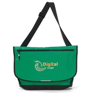 Blaze - Kelly Green - Computer Messenger Bag With Front Zippered Pocket Sized To Fit A Tablet
