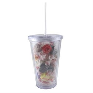 Clear Acrylic Tumbler Drinkware with an Iced Tea Packet