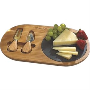 Bamboo And Slate Cheese Board With 2 Cheese Tools