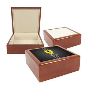 "Red Mahogany - 4"" X 4"" Jewelry Box With Sublimation Photo Tile Lid"