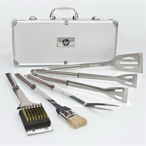5-piece Bbq Tool Set In Aluminum Case Is Perfect For Outdoor Bbq, Picnics, & Camping