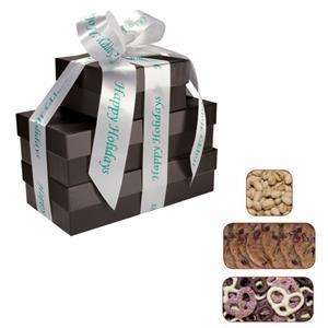 Four Seasons Gift Box Tower - Pretzels, Cookies, Pistachios