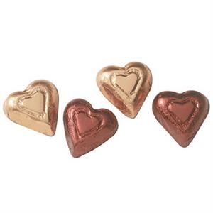 Dark Chocolate Foil Wrapped Hearts, Sold Per Case