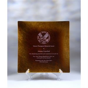 Jade Glass Square Award Plate with Gold Leaf 8""