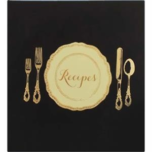 Table Setting - Black Recipe Keeper Covered In Stain Resistant Faux Leather