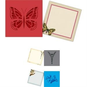 "The World's Fair Collection Red Butterfly - Wooden Note Paper Box With Matching Paper, 3.5"" X 3.5"" X 2.25"""