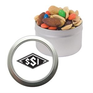 Silver Candy Window Tin with Trail Mix