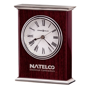 Kentwood - Rosewood Finish Carriage Clock With Alarm, Nickel Finish Top And Base