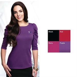 Naomi Lilac Bloom (r) -  X S- X L - Women's 3/4-sleeve Boat Neck Shirt. 8.1 Oz 60% Cotton/40% Polyester