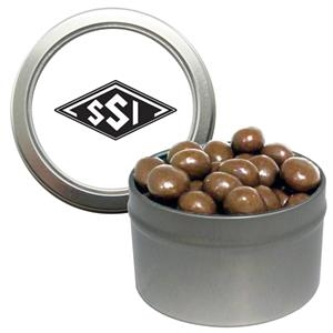 Silver Candy Window Tin with Chocolate Covered Raisins