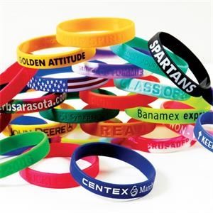Awareness Bracelet - Debossed Imprint, 100% Silicone, One Piece Construction