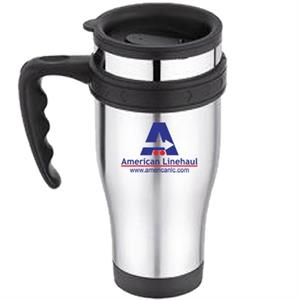 Stainless Outer, Plastic Inner 16 Oz. Travel Mug - Thumb Slide Lid And Sturdy Handle