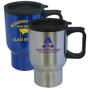 16 Oz. Travel Mug With Stainless Steel Outer And Plastic Interior & Low Profile Lid