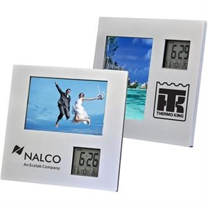 "Photo Frame Holds 3-1/2"" X 5"" Photo, Digital Clock, Calendar, And Thermometer"