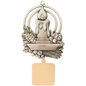Charm Collection - Printed - Stock Charming Candle Ornament With Brass Charm And Matching Cord
