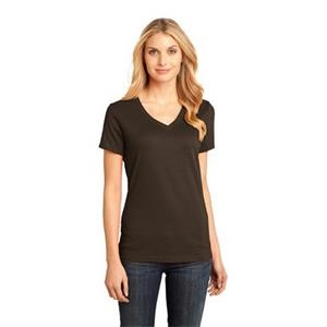 District Made (tm) -  X S -  X L White - Ladies' V-neck Tee, 100% Cotton, Ultra-soft
