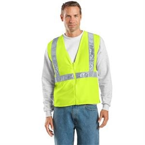 Port Authority (r) - 2 X L/3 X L Colors - Polyester Safety Vest With Vertical And Horizontal Reflective Taping