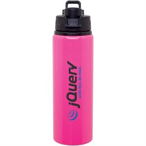 H2go (r) Surge - Neon Pink - 28 Oz Single Wall Aluminum Water Bottle With Threaded Flip-top Lid