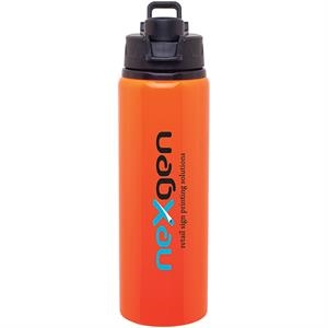 H2go (r) Surge - Neon Orange - 28 Oz Single Wall Aluminum Water Bottle With Threaded Flip-top Lid
