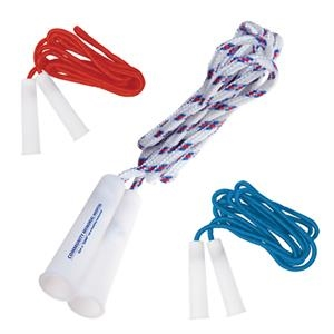 Rainbow Colored Woven Cloth Jump Rope With White Plastic Handles