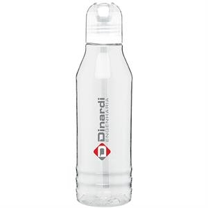 H2go (r) Flip - Clear - 20 Oz Single Wall Tritan Clear Copolyester Bottle With Color Threaded Lid And Straw