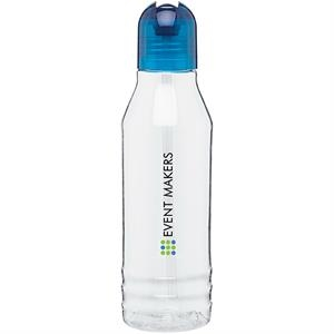 H2go (r) Flip - Aqua - 20 Oz Single Wall Tritan Clear Copolyester Bottle With Color Threaded Lid And Straw