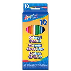 "10 Pack Colored Pencils - 7"" Pre-sharpened - Assorted Colors"