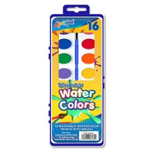 16 Color Washable Watercolor Paint Set With Brush - Assorted Colors