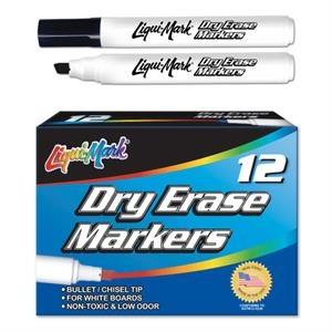 12 Pack Dry Erase Markers - Black - Chisel Tip