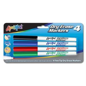 4 Pack Dry Erase Markers - Fine Tip - Assorted Colors - Usa Made