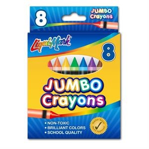 8 Pack Jumbo Crayons - Assorted Colors