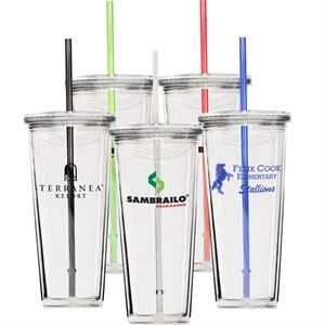 20 Oz Clear Double Wall Acrylic Cup With Screw-top Lid And Clear Straw, Bpa Free