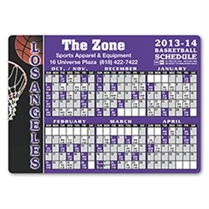 "Basketball Schedule Magnet, 4 1/8"" X 5 3/4"". Approximately .020 Material Thickness"