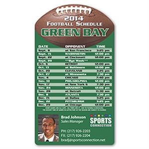 "Football Schedule Magnet, 5 3/4"" X 3 1/4"". Approximately .020 Material Thickness"