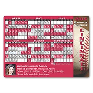 Baseball Schedule Magnet. Approximately .020 Material Thickness
