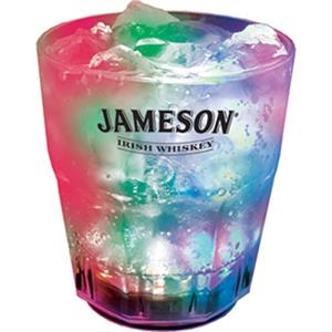 Light Up Whiskey Glass - 9oz - Fluted - Clear with 3 RGB LED